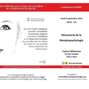 Flyer conférence morphopsychologie Paris